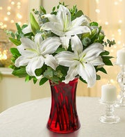 Winter White Lily Bouquet + Free Vase