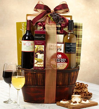 Rustic Two Bottle Wine Gift Basket