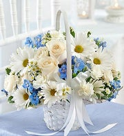 Blue and White Flower Girl Basket