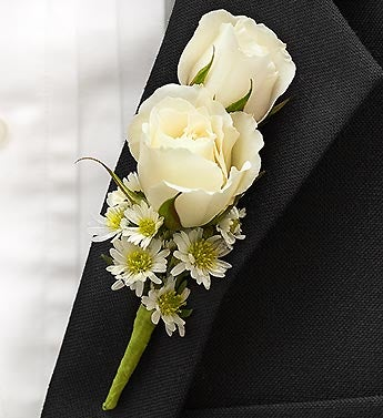 White Ring Bearer Boutonniere