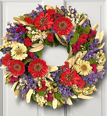 Natural Zinnia Preserved Wreath
