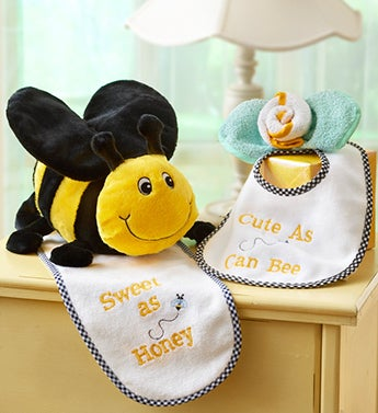 Cute as Can BEE Plush, Bib and Washcloth Gift Set