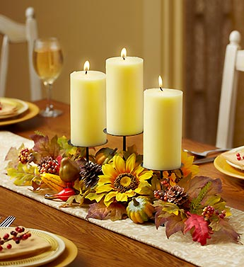 Faux Leaf & Berry Candle Centerpiece
