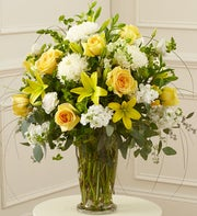 Yellow & White Large Sympathy Vase Arrangement
