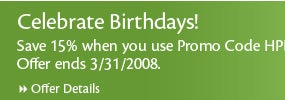 Birthday Save 15%